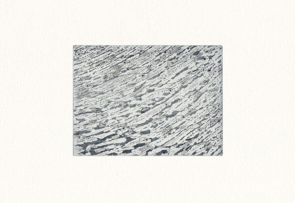 Radierung – Sardinenschwarm II