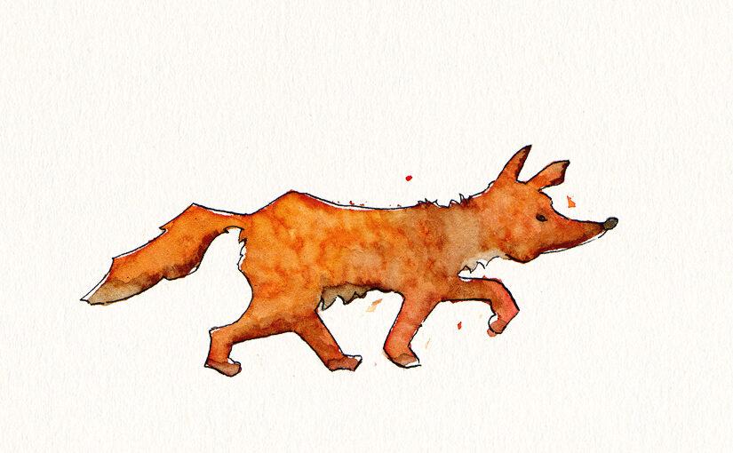 Skizze – Schnürender Fuchs
