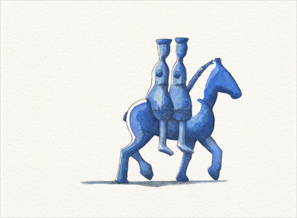 """Zeichnung – """"Blau unterwegs"""""""